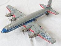 【難有り・処分品】UNITED AIRLINE プロペラ4発 旅客機 LINE MAR TOYS 1950年代 日本製【動画有り】