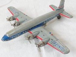 画像1: 【難有り・処分品】UNITED AIRLINE プロペラ4発 旅客機 LINE MAR TOYS 1950年代 日本製【動画有り】