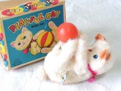 画像1: 【バーゲン】【難有り・不動品】玉を足でジャレル 子猫 1960年代 富士プレス工業 日本製